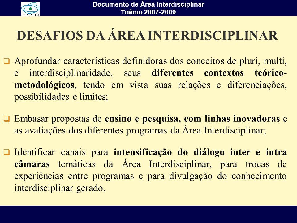 Documento de Área Interdisciplinar Triênio 2007-2009 COMISSÃO DE ÁREA DE AVALIAÇÃO RepresentanteInstituiçãoPeríodo Luiz BevilacquaLNCC/MCT1999-2003 Cláudio SampaioUNIFESP2003-2004 Cláudio HabertCOPPE/UFRJ2004-2005 Carlos NobreCPTEC/INPE2005-2008 Arlindo Philippi Jr.USP2008-2011 Câmara Temática (CT)CoordenadorInstituição CT I : Meio Ambiente & AgráriasWaldir MantovaniUSP CT II: Sociais & HumanidadesDaniel HoganUNICAMP CT III: Engenharia, Tecnologia & Gestão Augusto GaleãoLNCC CT IV: Saúde & BiológicasPedro G.