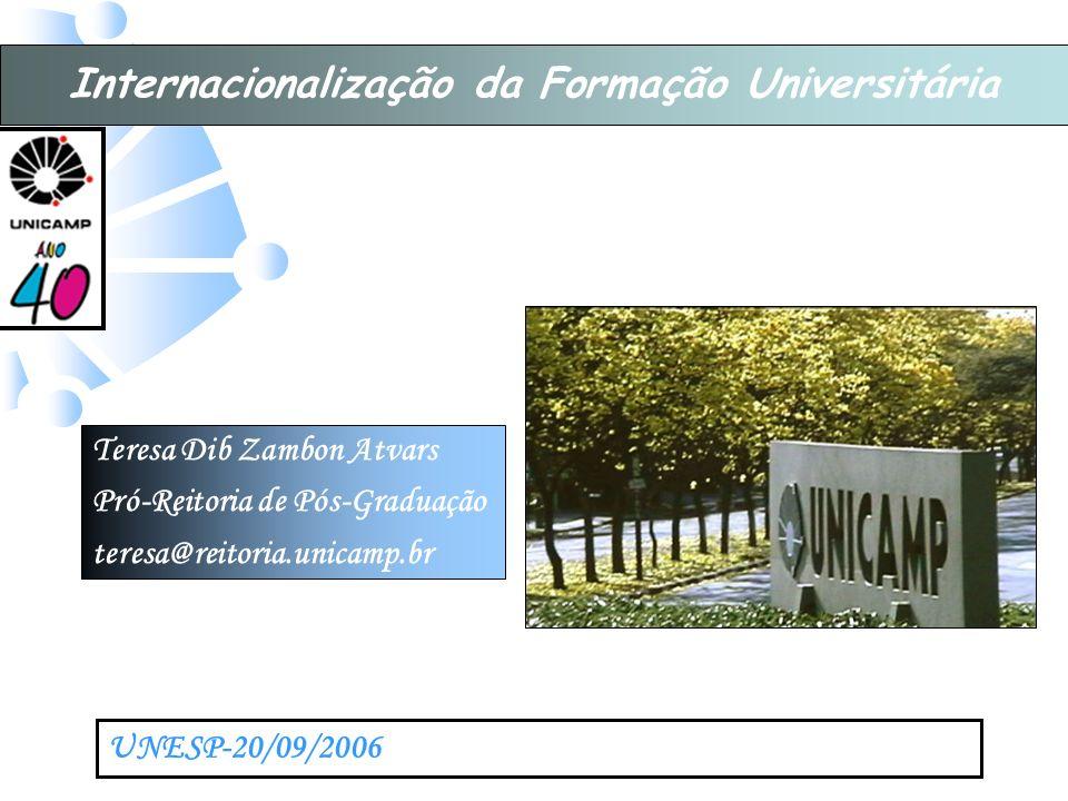Teresa Dib Zambon Atvars Pró-Reitoria de Pós-Graduação teresa@reitoria.unicamp.br UNESP-20/09/2006 Internacionalização da Formação Universitária