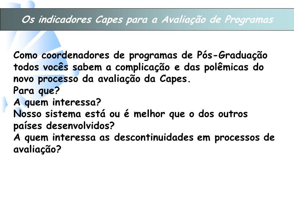 Os indicadores Capes para a Avaliação de Programas Como coordenadores de programas de Pós-Graduação todos vocês sabem a complicação e das polêmicas do novo processo da avaliação da Capes.