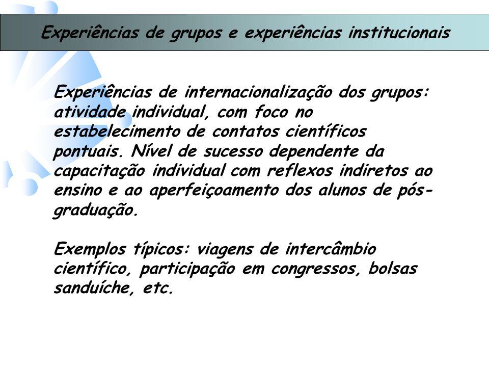 Experiências de grupos e experiências institucionais Experiências de internacionalização dos grupos: atividade individual, com foco no estabelecimento de contatos científicos pontuais.