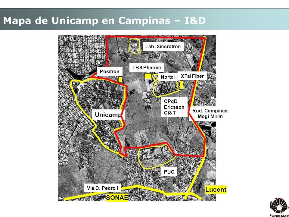 Mapa de Unicamp en Campinas – I&D Unicamp Lab.Síncrotron CPqD Ericsson Ci&T Via D.