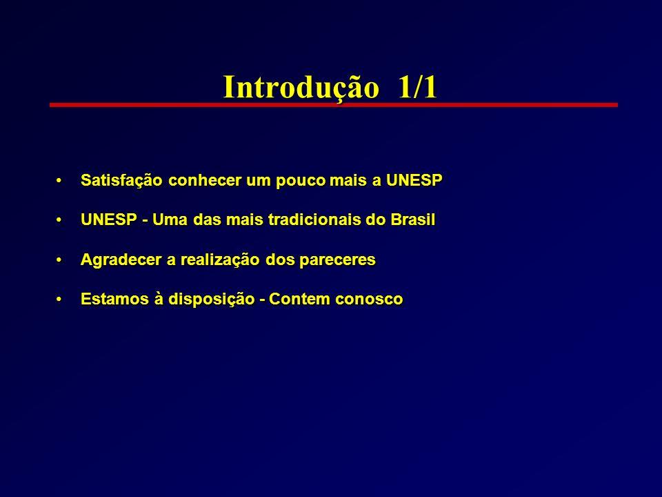 Introdução 1/1 Satisfação conhecer um pouco mais a UNESPSatisfação conhecer um pouco mais a UNESP UNESP - Uma das mais tradicionais do BrasilUNESP - U