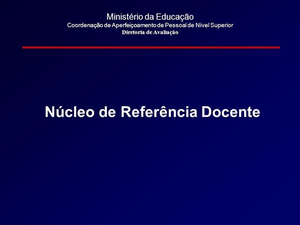 Ministério da Educação Coordenação de Aperfeiçoamento de Pessoal de Nível Superior Diretoria de Avaliação Núcleo de Referência Docente