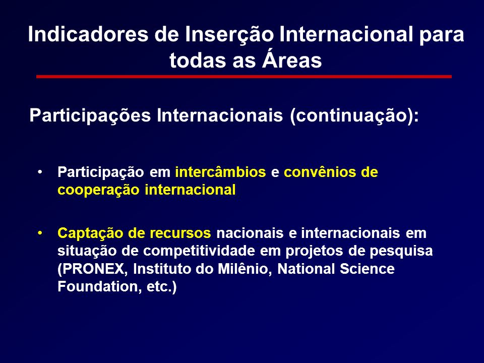 Indicadores de Inserção Internacional para todas as Áreas Participação em intercâmbios e convênios de cooperação internacional Captação de recursos na