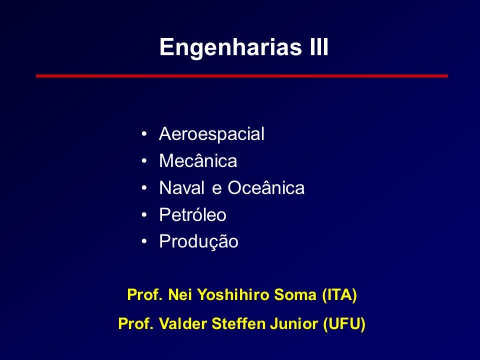 Engenharias III Aeroespacial Mecânica Naval e Oceânica Petróleo Produção Prof. Nei Yoshihiro Soma (ITA) Prof. Valder Steffen Junior (UFU)