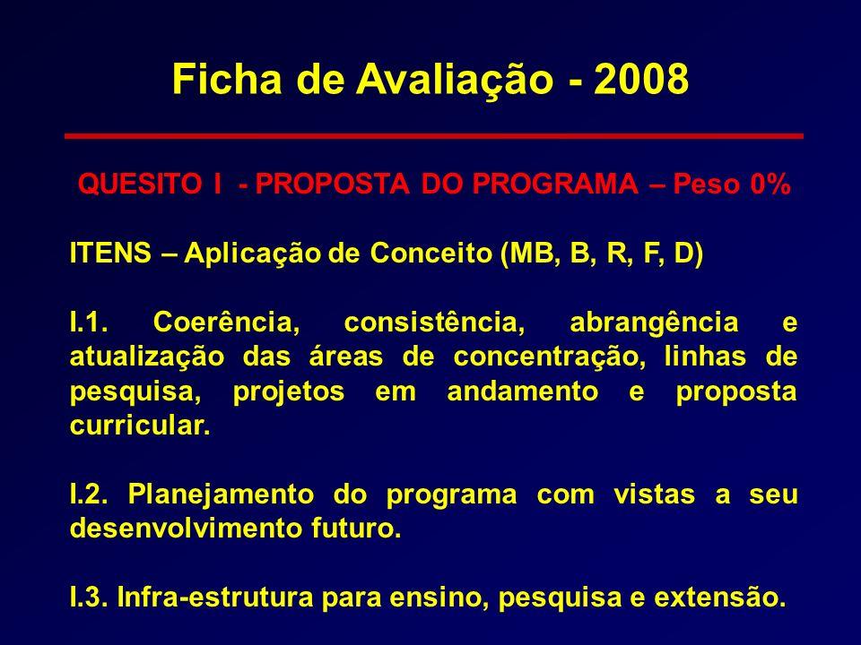 QUESITO I - PROPOSTA DO PROGRAMA – Peso 0% ITENS – Aplicação de Conceito (MB, B, R, F, D) I.1. Coerência, consistência, abrangência e atualização das