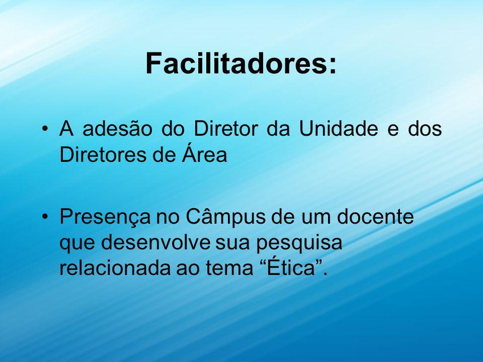 Facilitadores: A adesão do Diretor da Unidade e dos Diretores de Área Presença no Câmpus de um docente que desenvolve sua pesquisa relacionada ao tema Ética.