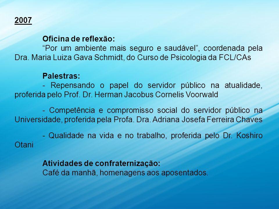 2007 Oficina de reflexão: Por um ambiente mais seguro e saudável, coordenada pela Dra.