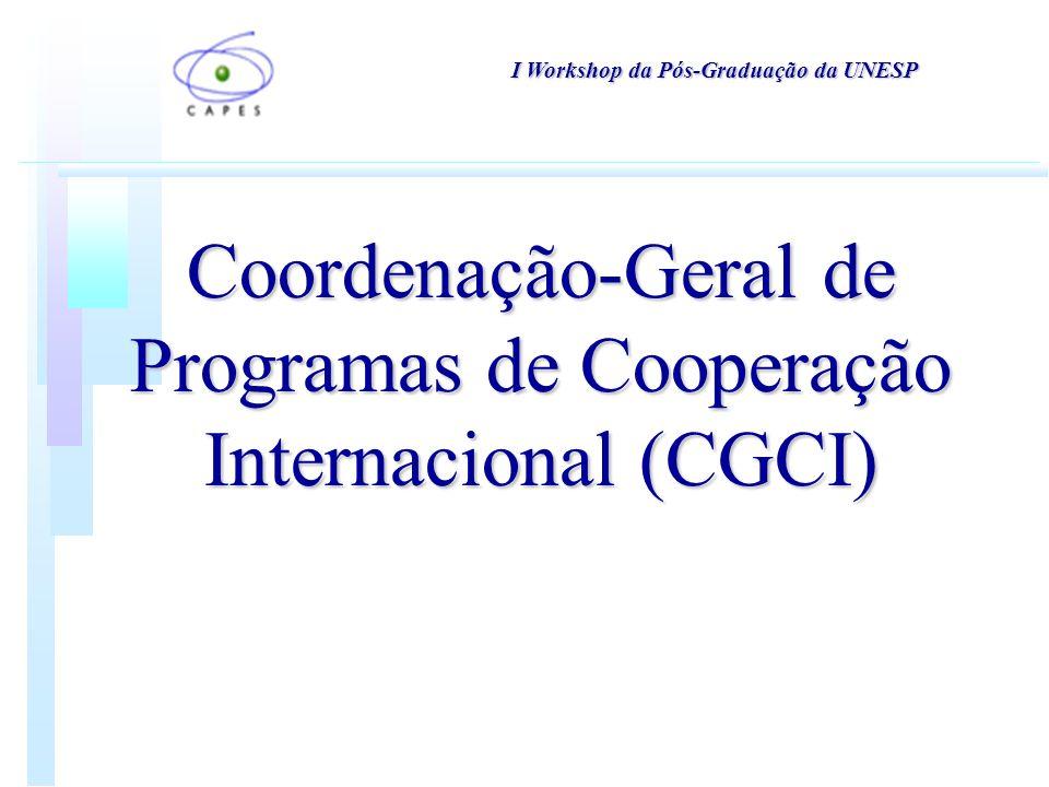 Coordenação-Geral de Programas de Cooperação Internacional (CGCI) I Workshop da Pós-Graduação da UNESP
