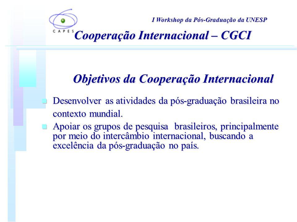 n Desenvolver as atividades da pós-graduação brasileira no contexto mundial.