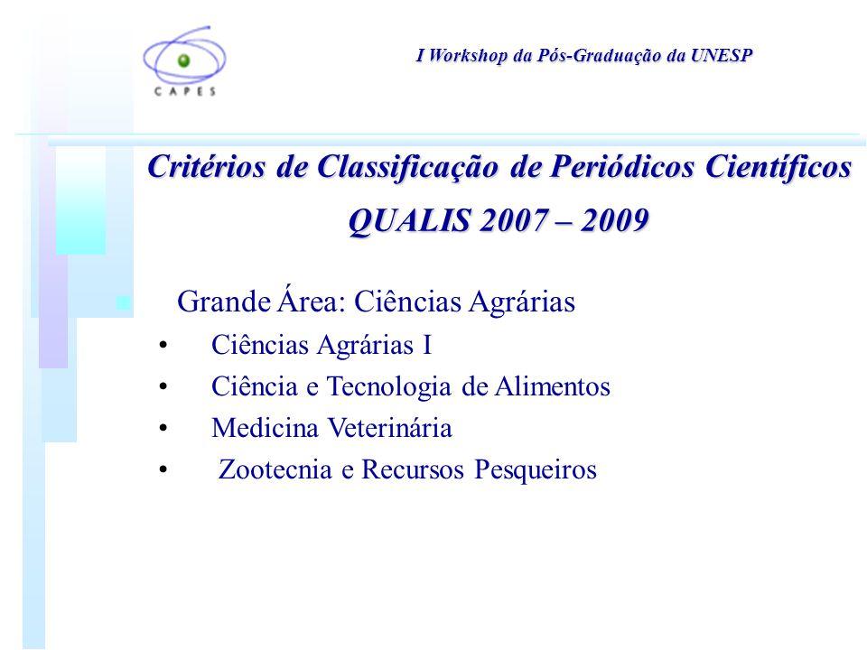 Critérios de Classificação de Periódicos Científicos QUALIS 2007 – 2009 n Grande Área: Ciências Agrárias Ciências Agrárias I Ciência e Tecnologia de Alimentos Medicina Veterinária Zootecnia e Recursos Pesqueiros