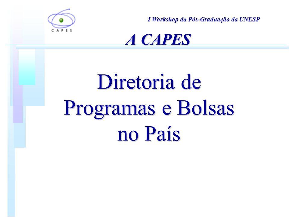 Diretoria de Programas e Bolsas no País I Workshop da Pós-Graduação da UNESP A CAPES