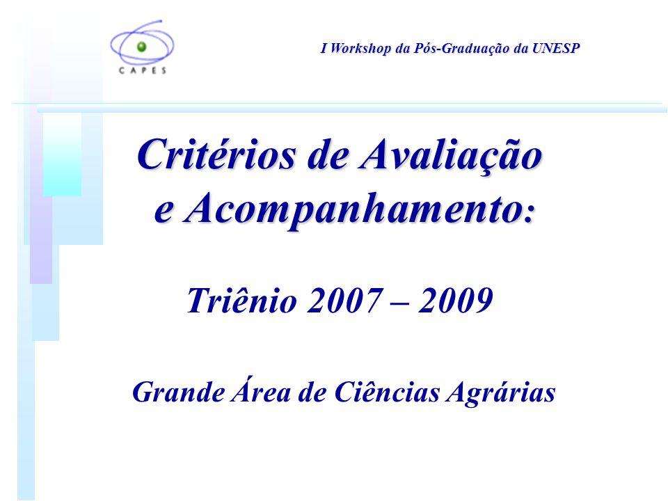 Critérios de Avaliação e Acompanhamento : Critérios de Avaliação e Acompanhamento : Triênio 2007 – 2009 Grande Área de Ciências Agrárias I Workshop da Pós-Graduação da UNESP