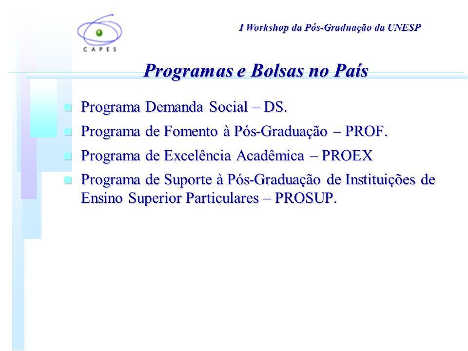 n Programa Demanda Social – DS. n Programa de Fomento à Pós-Graduação – PROF.