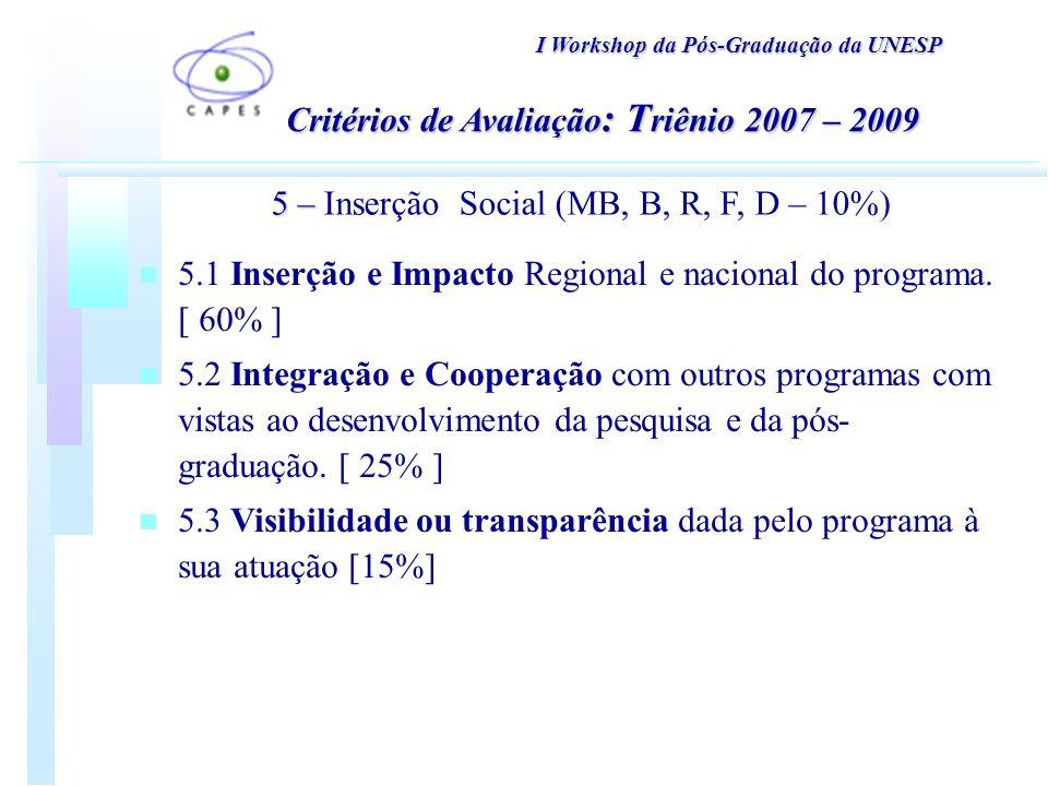 I Workshop da Pós-Graduação da UNESP 5 – 5 – Inserção Social (MB, B, R, F, D – 10%) Critérios de Avaliação : T riênio 2007 – 2009 n 5.1 Inserção e Impacto Regional e nacional do programa.