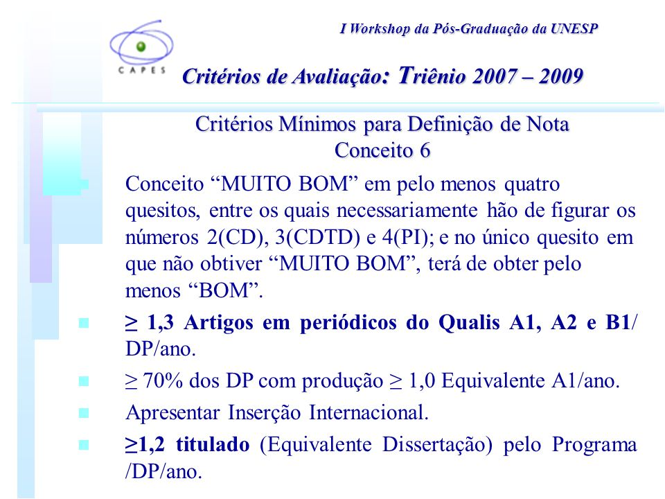 I Workshop da Pós-Graduação da UNESP Critérios Mínimos para Definição de Nota Conceito 6 n Conceito MUITO BOM em pelo menos quatro quesitos, entre os quais necessariamente hão de figurar os números 2(CD), 3(CDTD) e 4(PI); e no único quesito em que não obtiver MUITO BOM, terá de obter pelo menos BOM.
