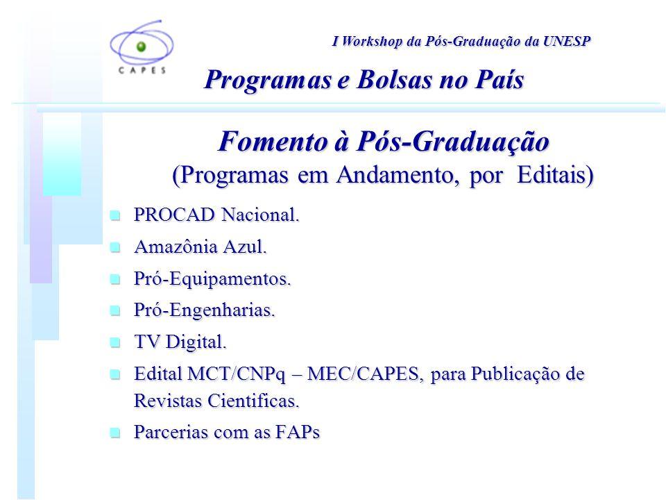 n PROCAD Nacional. n Amazônia Azul. n Pró-Equipamentos.
