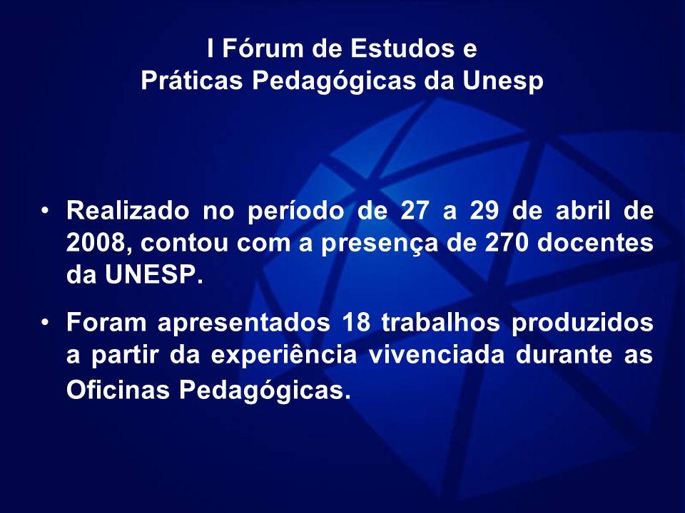 I Fórum de Estudos e Práticas Pedagógicas da Unesp Realizado no período de 27 a 29 de abril de 2008, contou com a presença de 270 docentes da UNESP. F