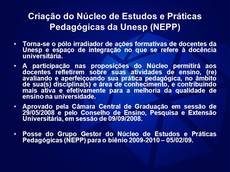 Criação do Núcleo de Estudos e Práticas Pedagógicas da Unesp (NEPP) Torna-se o pólo irradiador de ações formativas de docentes da Unesp e espaço de in