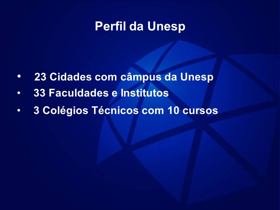 Perfil da Unesp 23 Cidades com câmpus da Unesp 33 Faculdades e Institutos 3 Colégios Técnicos com 10 cursos