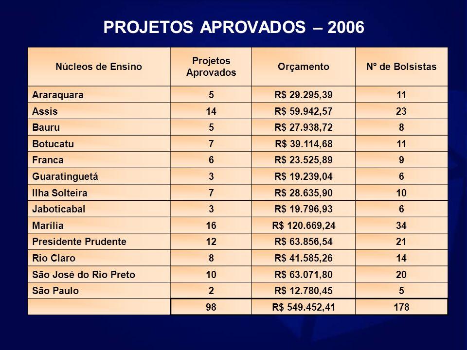 PROJETOS APROVADOS – 2006 Núcleos de Ensino Projetos Aprovados OrçamentoNº de Bolsistas Araraquara5R$ 29.295,39 11 Assis14R$ 59.942,5723 Bauru5R$ 27.9