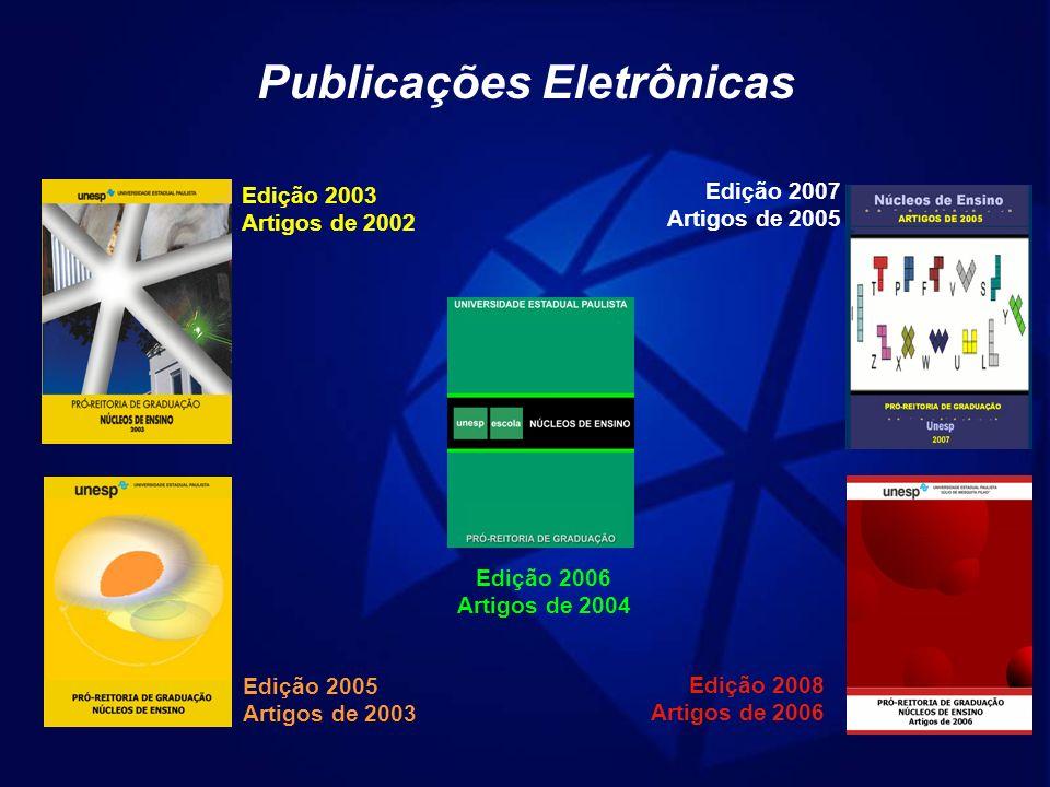 Publicações Eletrônicas Edição 2003 Artigos de 2002 Edição 2005 Artigos de 2003 Edição 2006 Artigos de 2004 Edição 2007 Artigos de 2005 Edição 2008 Ar