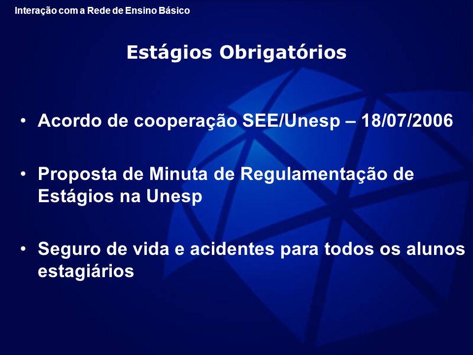 Estágios Obrigatórios Acordo de cooperação SEE/Unesp – 18/07/2006 Proposta de Minuta de Regulamentação de Estágios na Unesp Seguro de vida e acidentes