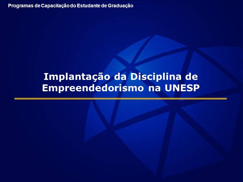 Implantação da Disciplina de Empreendedorismo na UNESP Programas de Capacitação do Estudante de Graduação