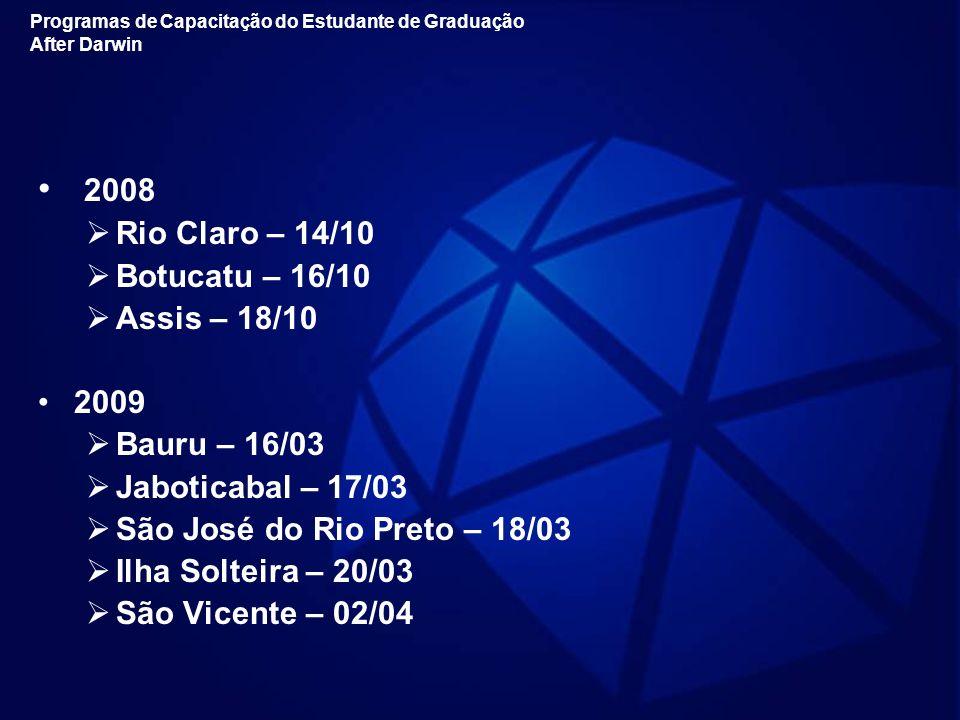 2008 Rio Claro – 14/10 Botucatu – 16/10 Assis – 18/10 2009 Bauru – 16/03 Jaboticabal – 17/03 São José do Rio Preto – 18/03 Ilha Solteira – 20/03 São V