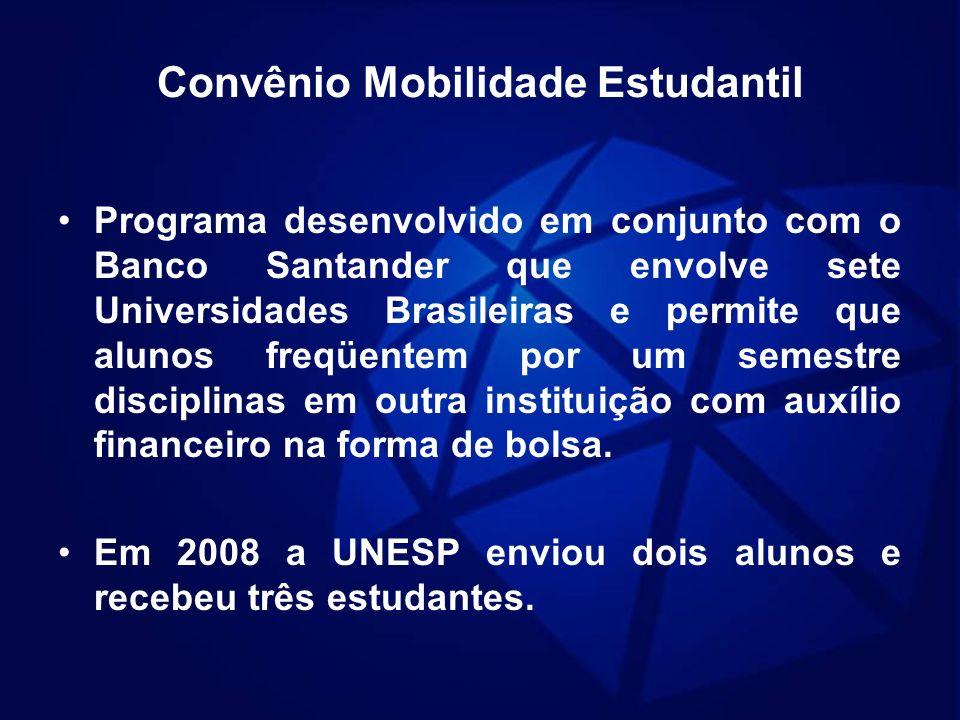 Convênio Mobilidade Estudantil Programa desenvolvido em conjunto com o Banco Santander que envolve sete Universidades Brasileiras e permite que alunos