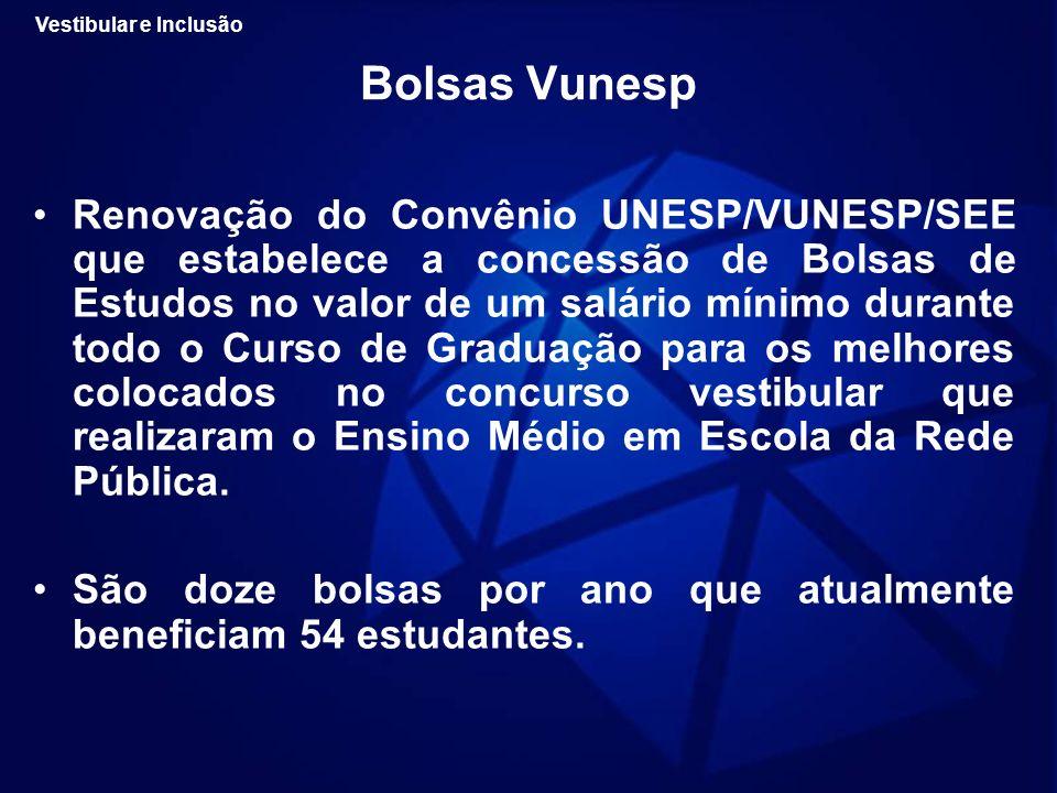 Bolsas Vunesp Renovação do Convênio UNESP/VUNESP/SEE que estabelece a concessão de Bolsas de Estudos no valor de um salário mínimo durante todo o Curs