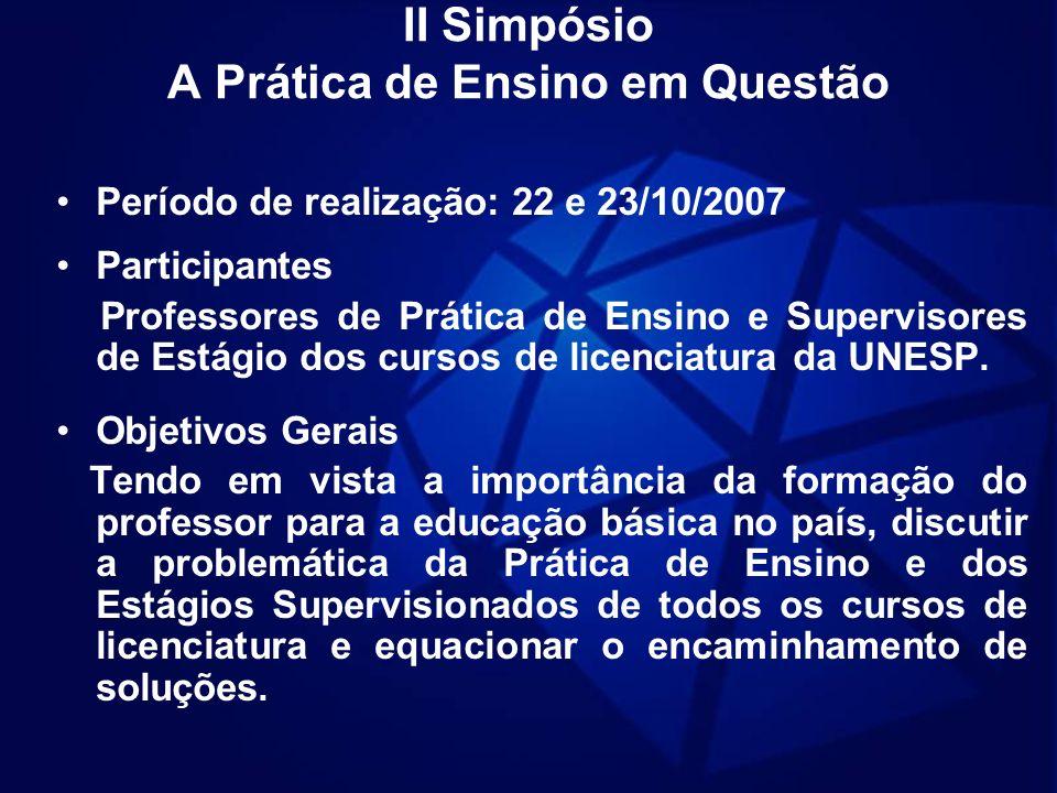 II Simpósio A Prática de Ensino em Questão Período de realização: 22 e 23/10/2007 Participantes Professores de Prática de Ensino e Supervisores de Est