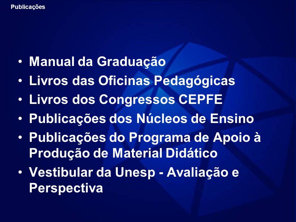 Manual da Graduação Livros das Oficinas Pedagógicas Livros dos Congressos CEPFE Publicações dos Núcleos de Ensino Publicações do Programa de Apoio à P