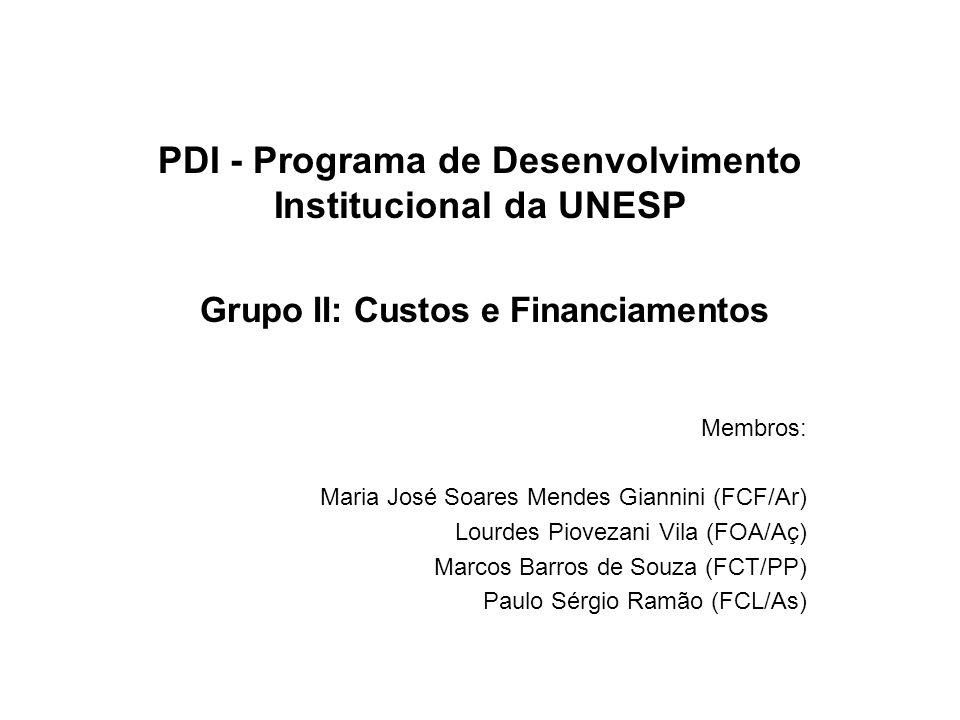 PDI - Programa de Desenvolvimento Institucional da UNESP Grupo II: Custos e Financiamentos Membros: Maria José Soares Mendes Giannini (FCF/Ar) Lourdes