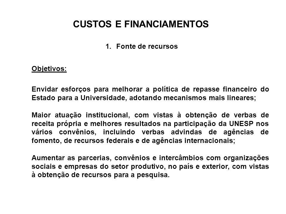 CUSTOS E FINANCIAMENTOS 1.Fonte de recursos Envidar esforços para melhorar a política de repasse financeiro do Estado para a Universidade, adotando me