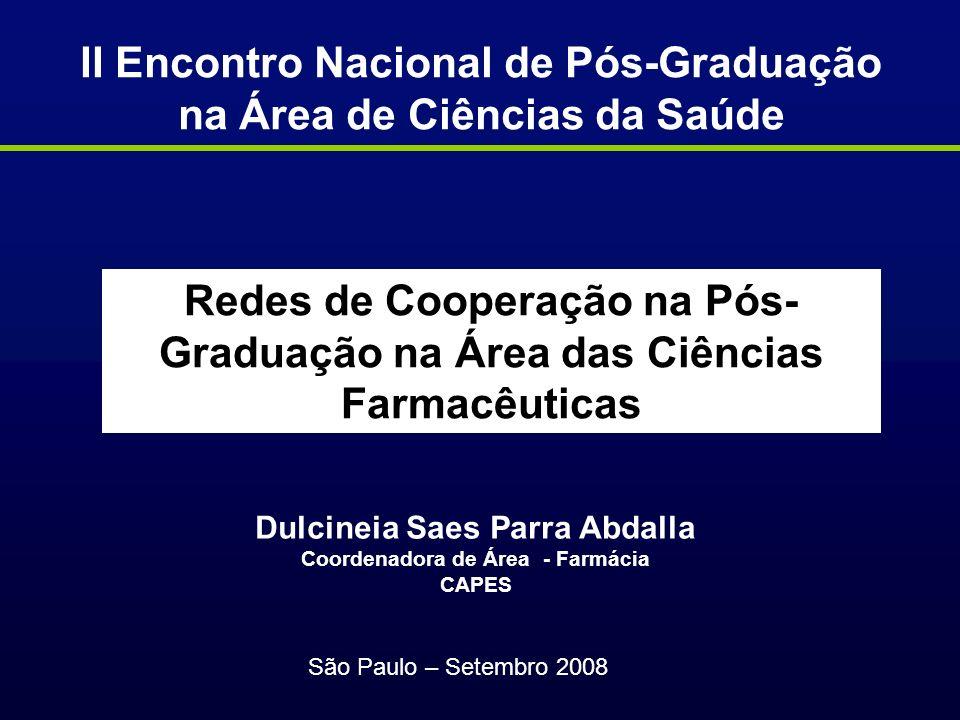 Ampliar o diálogo com os Coordenadores Reaver a unidade e identidade da área farmacêutica no país Fortalecer a pós-graduação na área Farmácia Minimizar as assimetrias regionais e entre as subáreas Ações da Área da Farmácia Triênio 2008-2010