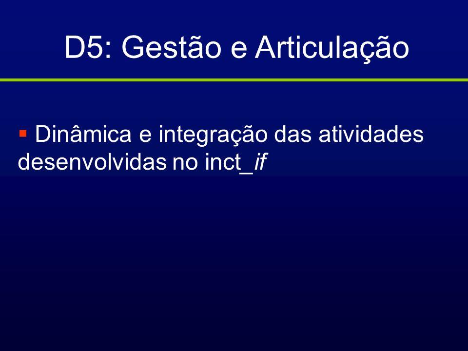 D5: Gestão e Articulação Dinâmica e integração das atividades desenvolvidas no inct_if