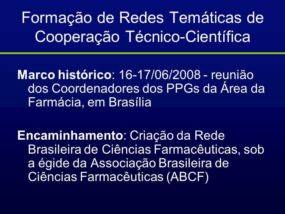 Formação de Redes Temáticas de Cooperação Técnico-Científica Marco histórico: 16-17/06/2008 - reunião dos Coordenadores dos PPGs da Área da Farmácia,