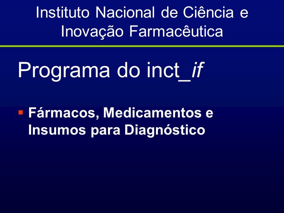 Instituto Nacional de Ciência e Inovação Farmacêutica Programa do inct_if Fármacos, Medicamentos e Insumos para Diagnóstico