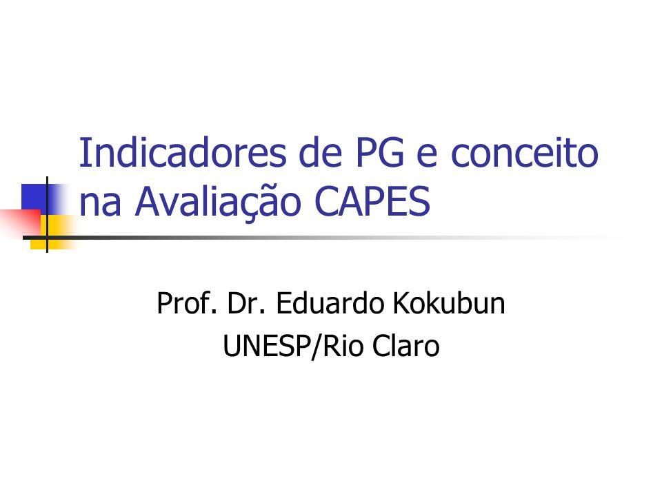 Indicadores de PG e conceito na Avaliação CAPES Prof. Dr. Eduardo Kokubun UNESP/Rio Claro