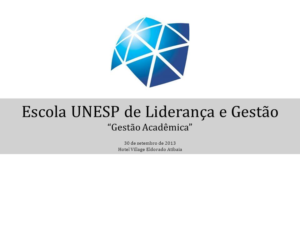Escola UNESP de Liderança e Gestão Gestão Acadêmica 30 de setembro de 2013 Hotel Village Eldorado Atibaia