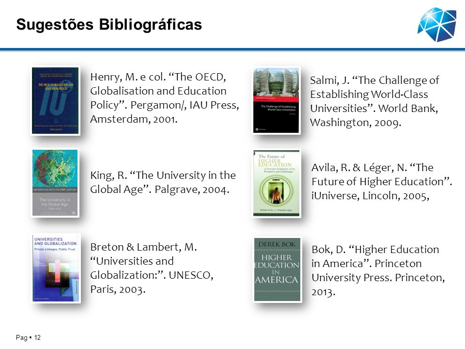 Sugestões Bibliográficas Pag 12 King, R. The University in the Global Age. Palgrave, 2004. Breton & Lambert, M. Universities and Globalization:. UNESC