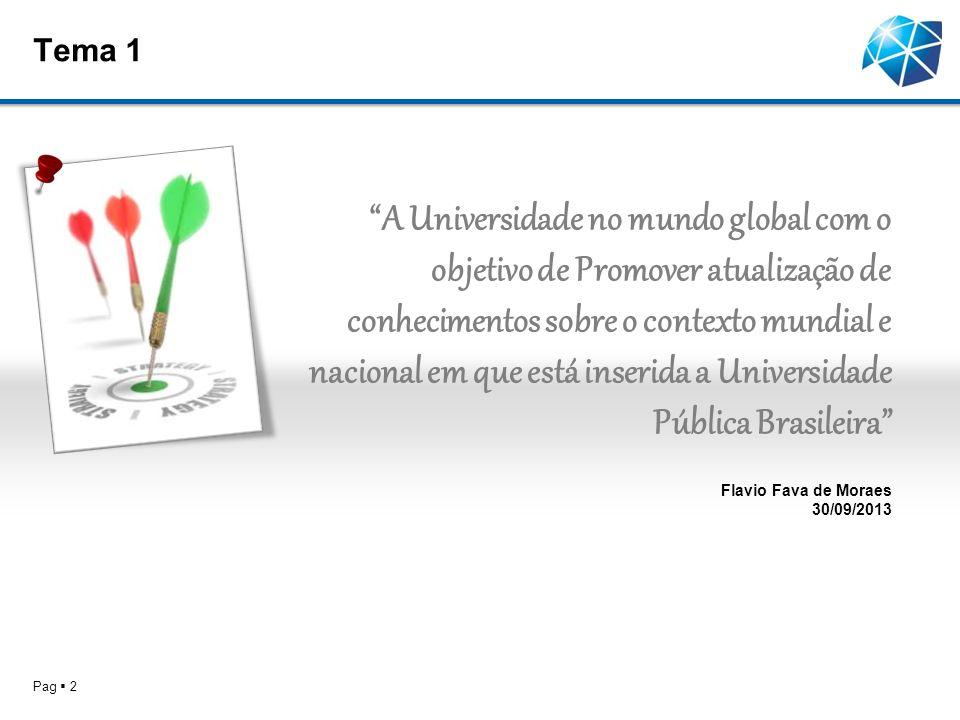 Tema 1 Pag 2 A Universidade no mundo global com o objetivo de Promover atualização de conhecimentos sobre o contexto mundial e nacional em que está inserida a Universidade Pública Brasileira Flavio Fava de Moraes 30/09/2013