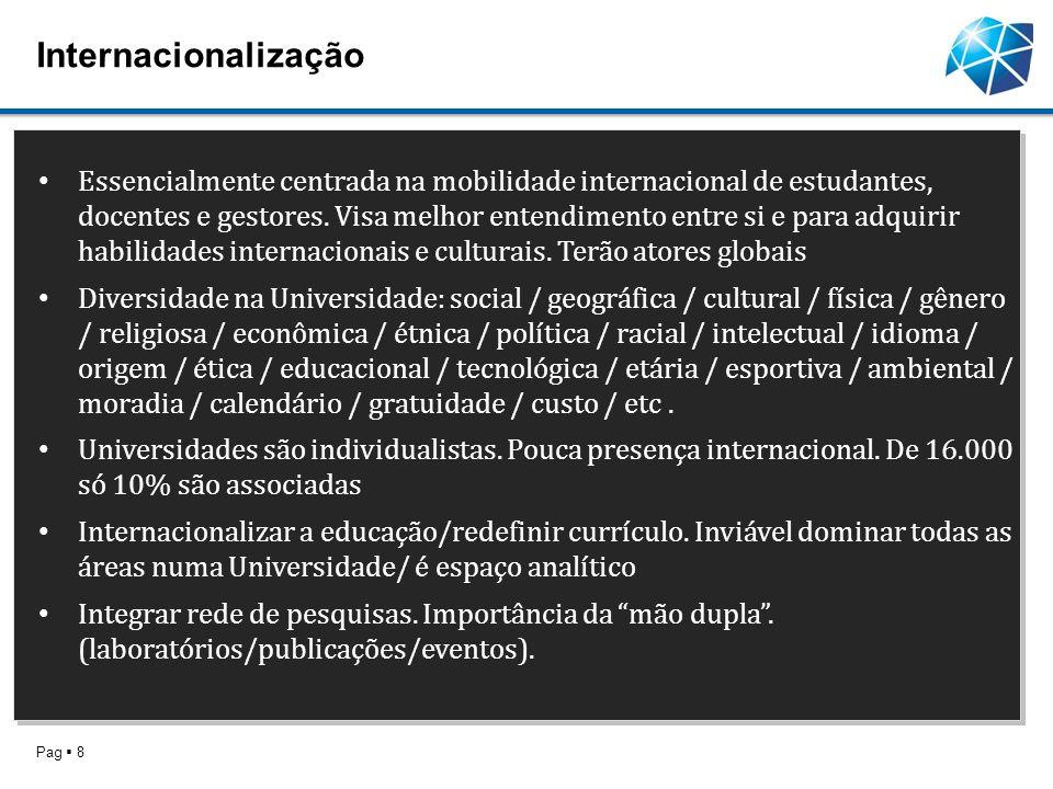 Internacionalização Pag 8 Essencialmente centrada na mobilidade internacional de estudantes, docentes e gestores. Visa melhor entendimento entre si e