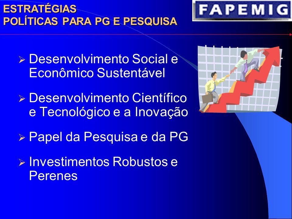Desenvolvimento Social e Econômico Sustentável Desenvolvimento Científico e Tecnológico e a Inovação Papel da Pesquisa e da PG Investimentos Robustos e Perenes ESTRATÉGIAS POLÍTICAS PARA PG E PESQUISA