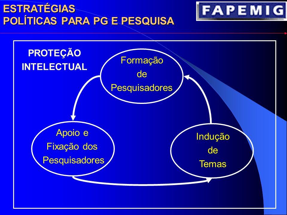 Formação de Pesquisadores Apoio e Fixação dos Pesquisadores Indução de Temas PROTEÇÃO INTELECTUAL ESTRATÉGIAS POLÍTICAS PARA PG E PESQUISA