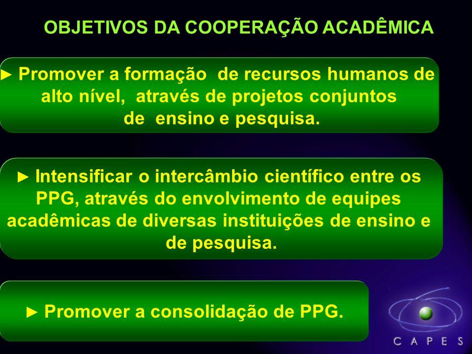OBJETIVOS DA COOPERAÇÃO ACADÊMICA Promover a formação de recursos humanos de alto nível, através de projetos conjuntos de ensino e pesquisa. Intensifi