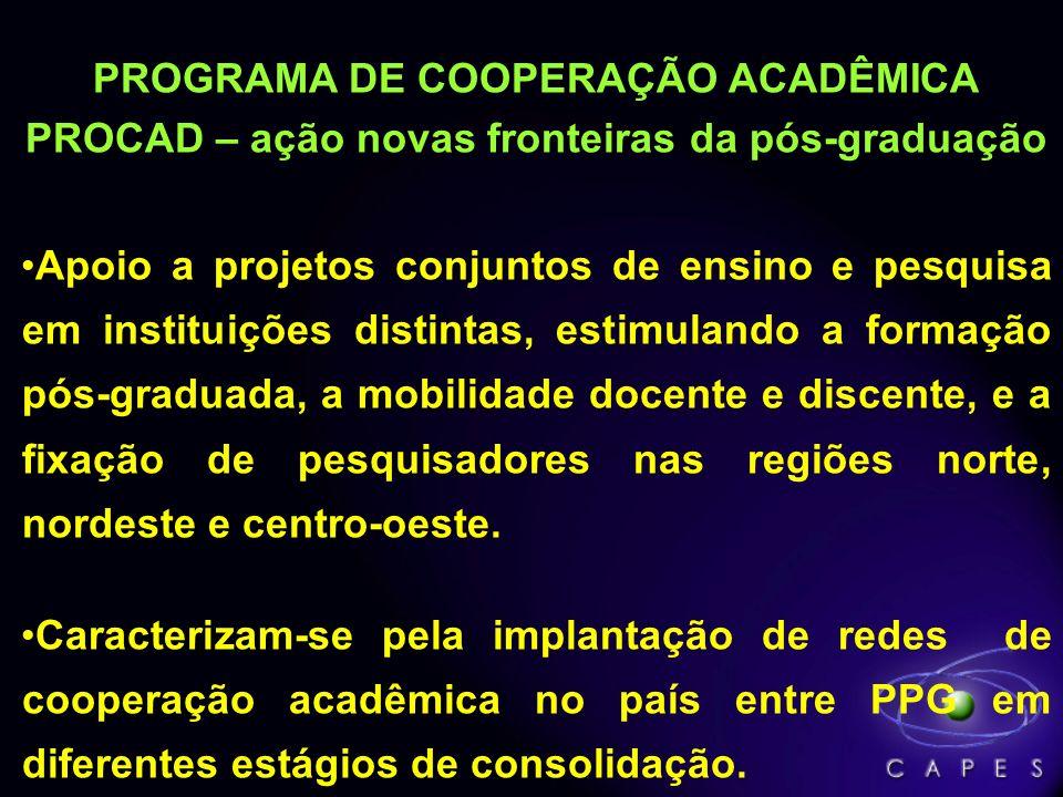 PROGRAMA DE COOPERAÇÃO ACADÊMICA PROCAD – ação novas fronteiras da pós-graduação Apoio a projetos conjuntos de ensino e pesquisa em instituições disti