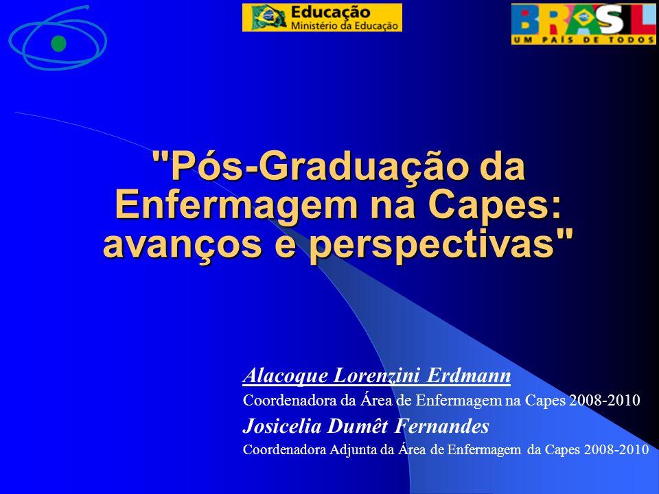 ÁREA DE PÓS-GRADUAÇÃO EM ENFERMAGEM NO BRASIL CAPES/MEC Legenda M - Mestrado D - Doutorado Paraíba UFPB - M 1979 Bahia UFBA - M 1979 Minas Gerais UFMG - M 1994 D 2005 UFTM - M 2007 Santa Catarina UFSC - M 1976 D 1993 Rio Grande do Sul UFRGS - M 1998 FURG - M 2001/ DO- 2008 Goiás UFGO - M 2002 Rio Gde do Norte UFRGN - M 2001 Rio de Janeiro UFRJ - M 1972 D 1989 UNIRIO - M 1982 UERJ - M 1999 UFF – MP 2003 UFF – M 2008 Paraná UFPR - M 2002 UEM – M 2003 Ceará UFC - M 1993 D 1998 UECE - M2005 São Paulo USP – EE M 1973 D 1989 M 2002 EERP - M 1975 D 1999 M 1979 D 1991 M 1991 D 1998 EE/ EERP - D 1981 (Interunidades) UNIFESP (1996 unificados) M/D 1978: Enfermagem Pediátrica M/D 1980: Enfermagem Obstétrica M/D 1989: Enfermagem em saúde do adulto UFSCAR M 2007 Enfermagem Fundamental Enfermagem em Saúde Pública Enfermagem Psiquiátrica UNICAMP - M 1999 D 2008 / UNG M 2004/ UNESP MP 2005.
