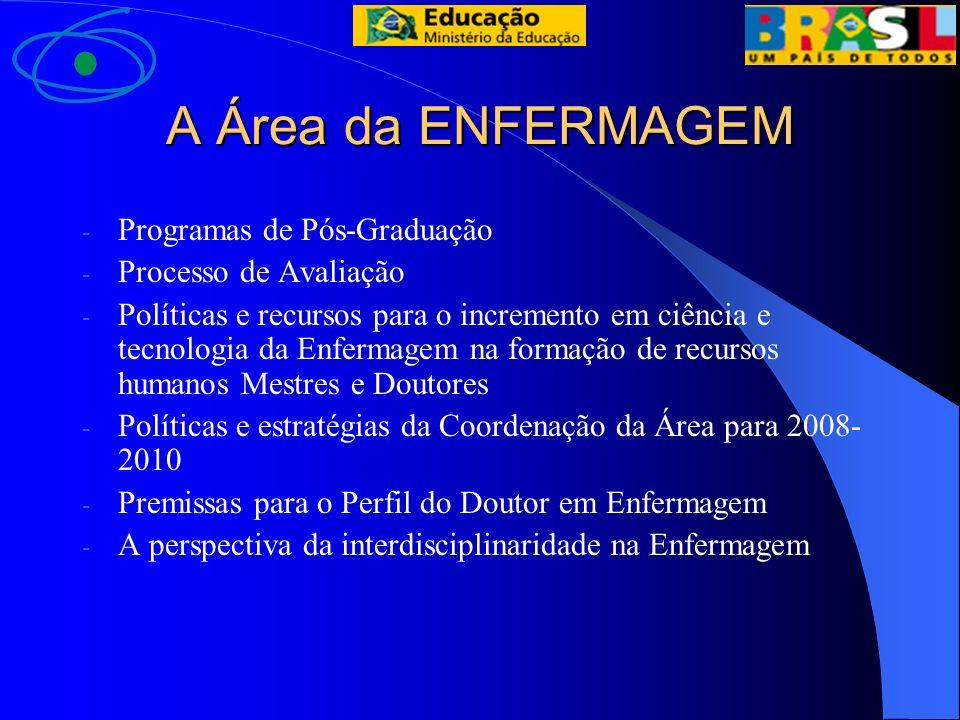 A Área da ENFERMAGEM - Programas de Pós-Graduação - Processo de Avaliação - Políticas e recursos para o incremento em ciência e tecnologia da Enfermag